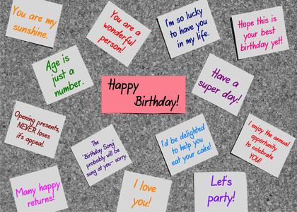 Sticky Note Birthday Card Handmade Sticky Note Birthday Cards – Notes for Birthday Cards